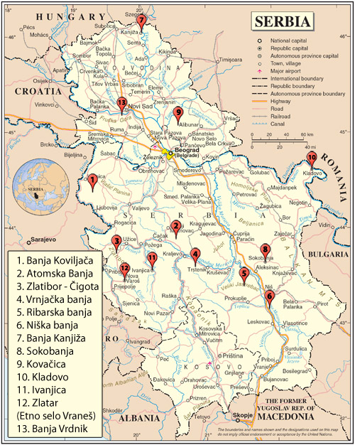lukovska banja srbija mapa Spisak banja u Srbiji lukovska banja srbija mapa